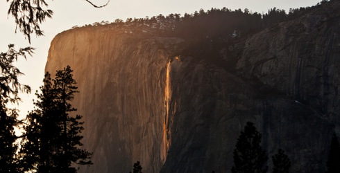 We're Falling for the February Fire in Yosemite Valley
