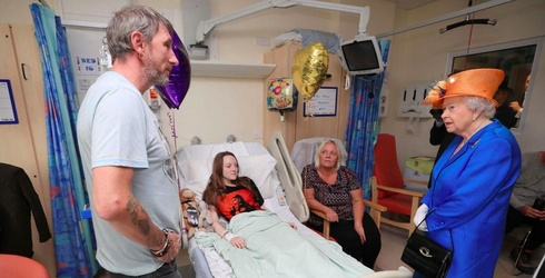 The Queen Visits Injured Bombing Victims and Staff at Royal Manchester Children's Hospital