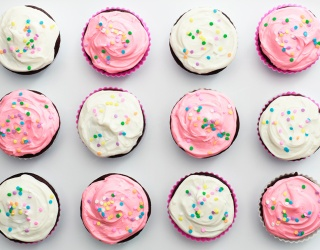 Pink or White Buttercream Frosting Cupcake? Why Not Both!