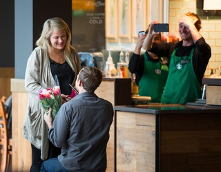 One Couple Ends Their 6 Year, Globe-Trotting Relationship With an Epic Airport Starbucks Proposal