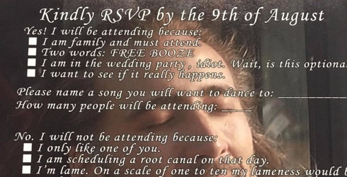 If Your Wedding RSVP Doesn't Look Like This You May as Well Not Even Get Married