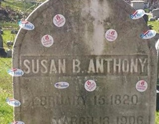 """Americans Place """"I Voted"""" Stickers on Susan B. Anthony's Grave"""