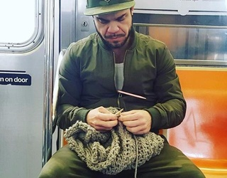 Mysterious Cool Guy Knitting on the Subway Is Revealed, Causing a Huge Spike in His Scarf Sales
