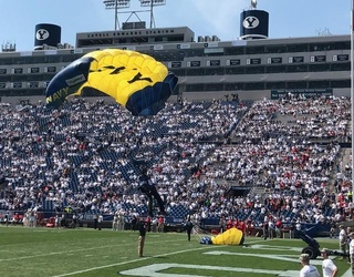"""Navy Parachuter Crashes Into Wall at Wisconsin-BYU Football Game, Crowd Says Collective """"Oh, Sh*t"""""""