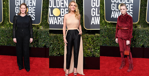 A Moment of Silence for All of the Power Suits on the Golden Globes Red Carpet