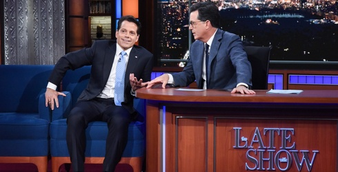 """Anthony Scaramucci Is """"Off the Record"""" With Guns Blazing On """"The Late Show With Stephen Colbert"""""""